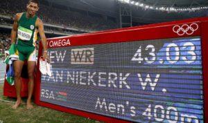 2016年 ウェイド・バンニーキルク(南アフリカ共和国)43秒03 リオデジャネイロ(ブラジル)