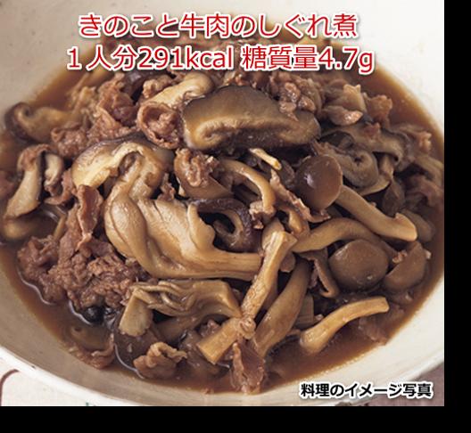 きのこと牛肉のしぐれ煮1人分291kcal 糖質量4.7g
