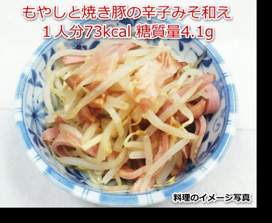 もやしと焼き豚の辛子みそ和え1人分73kcal 糖質量4.1g